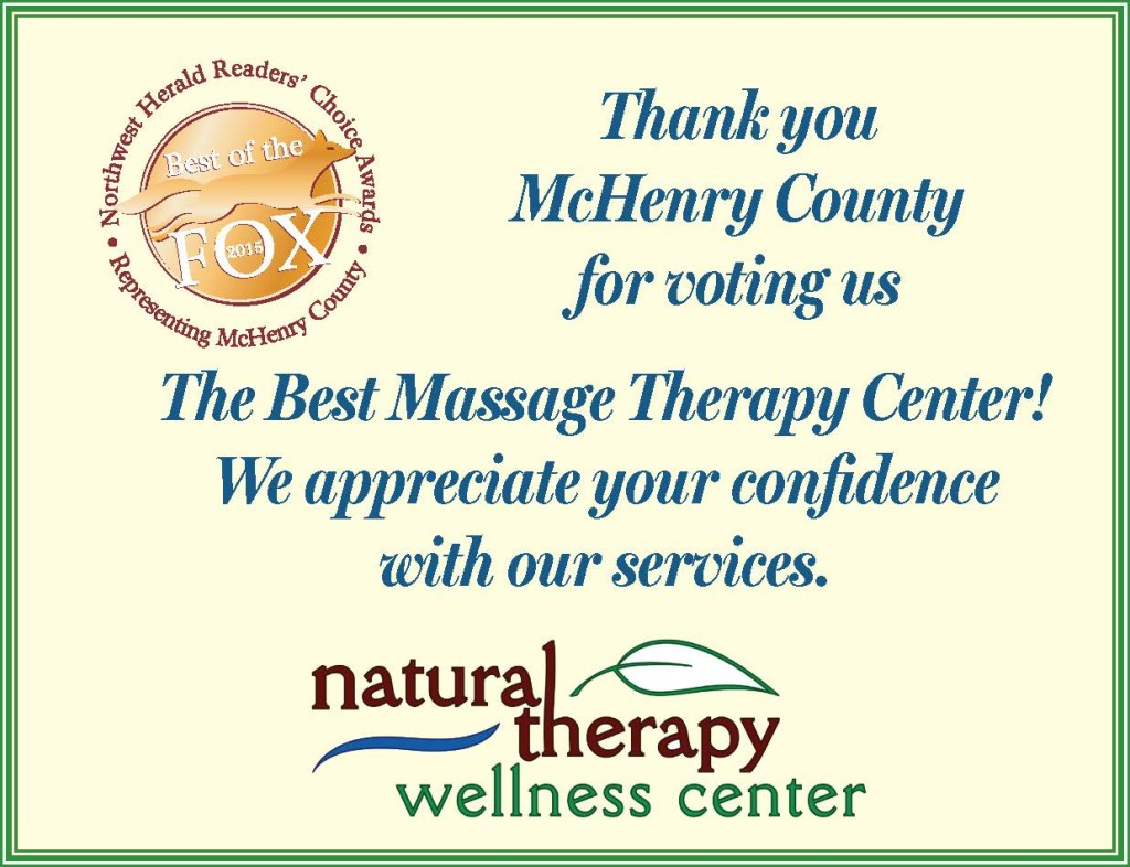 Voted as The Best Massage Therapy Center in 2015 in McHenry County, IL